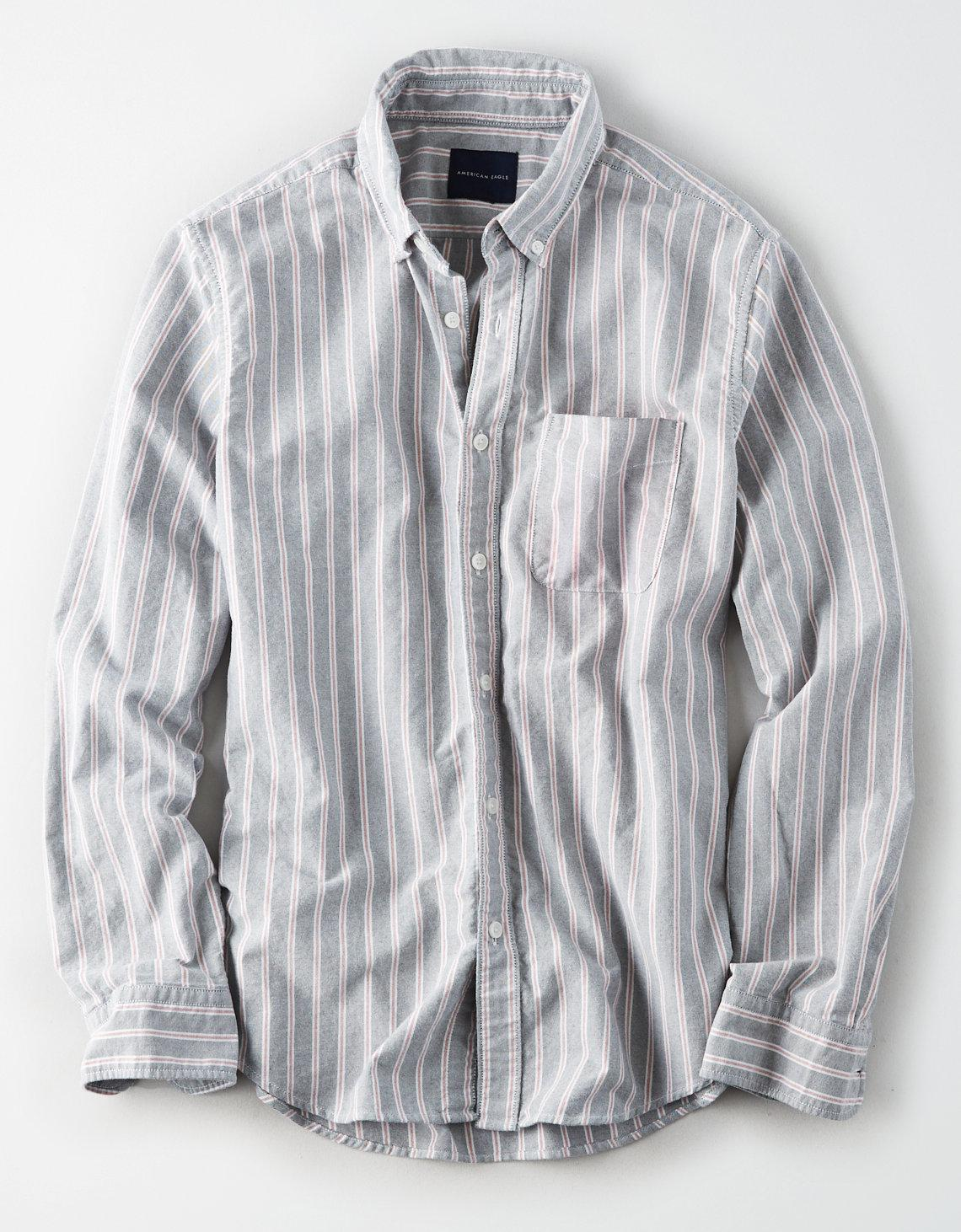 2e7199fd American Eagle Ae Seriously Soft Oxford Button Down Shirt in Gray ...