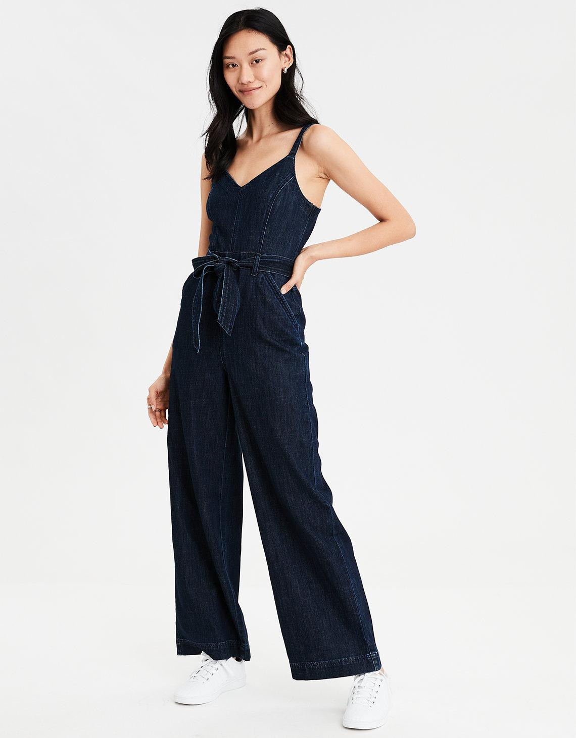 f99fdeed25d5 Lyst - American Eagle Ae Tie Front Denim Jumpsuit in Blue