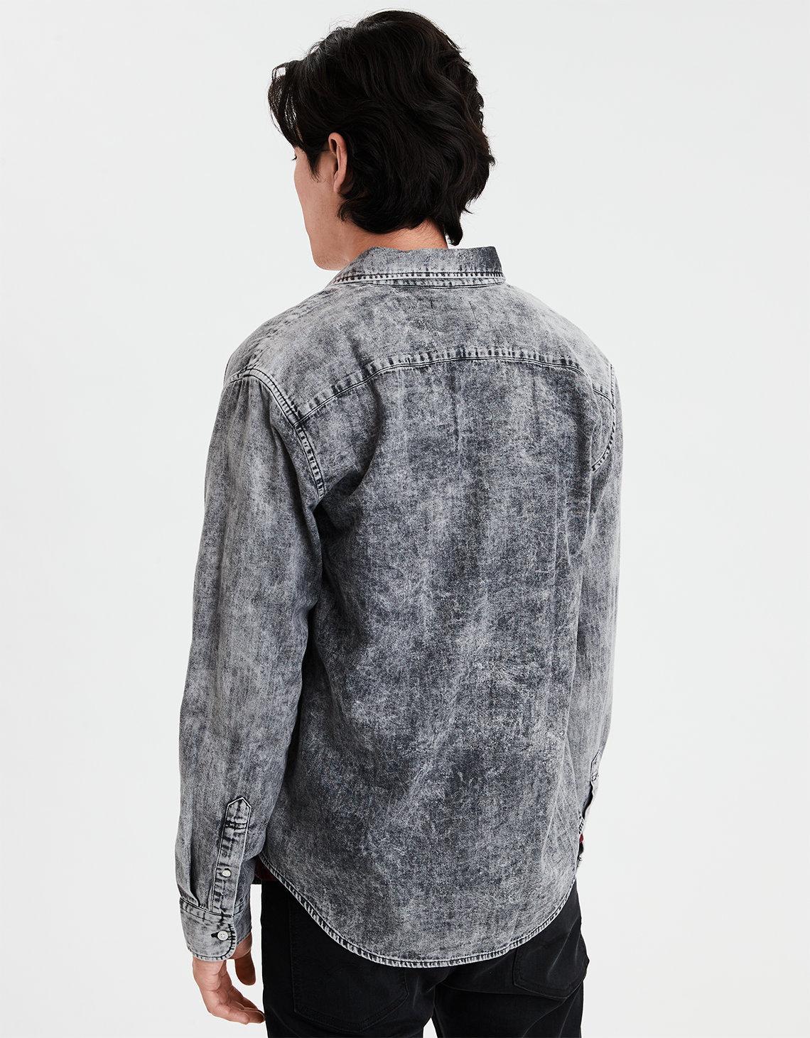 c2e7e147e16 Lyst - American Eagle Ae Long Sleeve Black Acid Wash Denim Button Down Shirt  in Black for Men