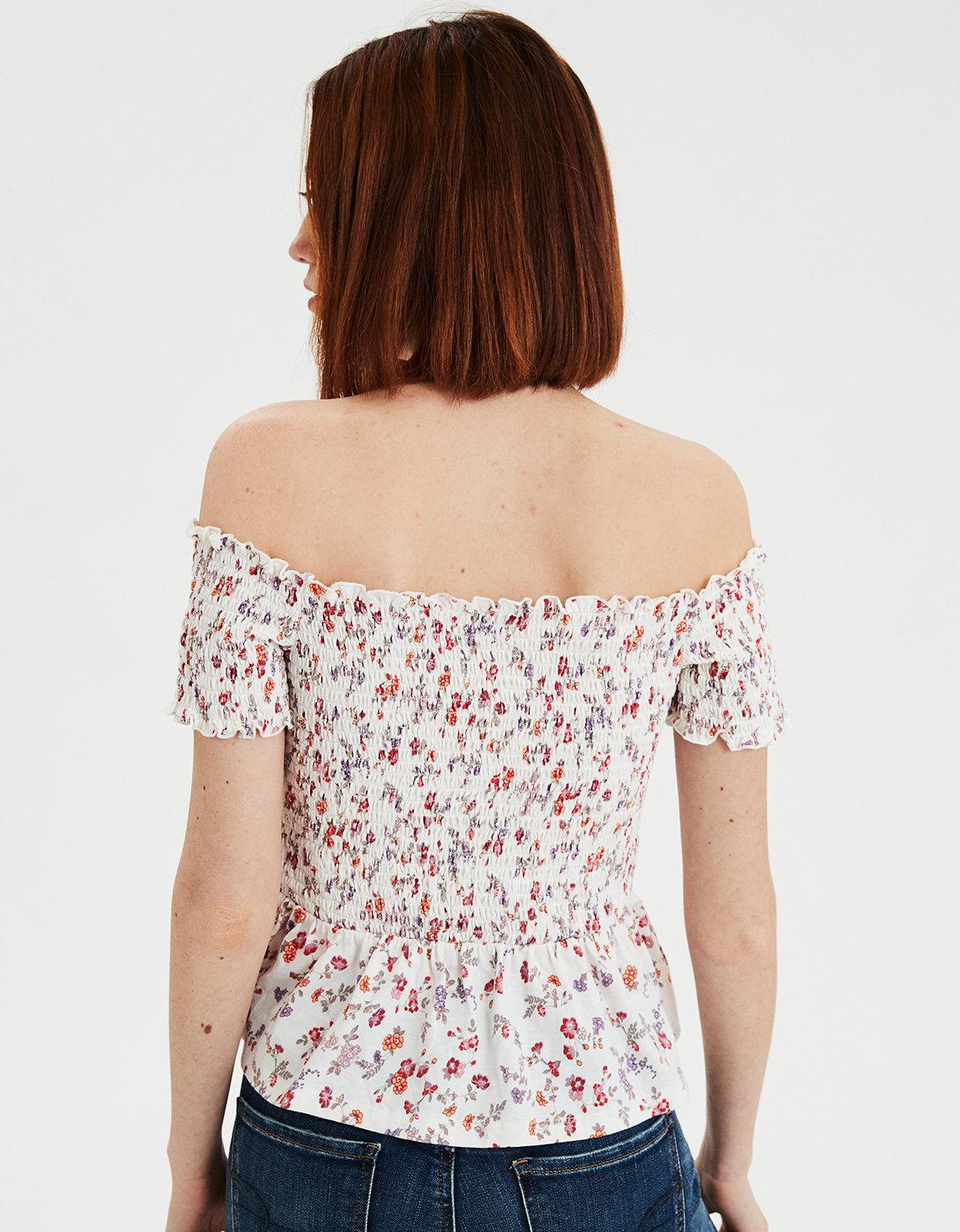 0613caa8 American Eagle Ae Off-the-shoulder Smocked Peplum Floral Tee - Lyst