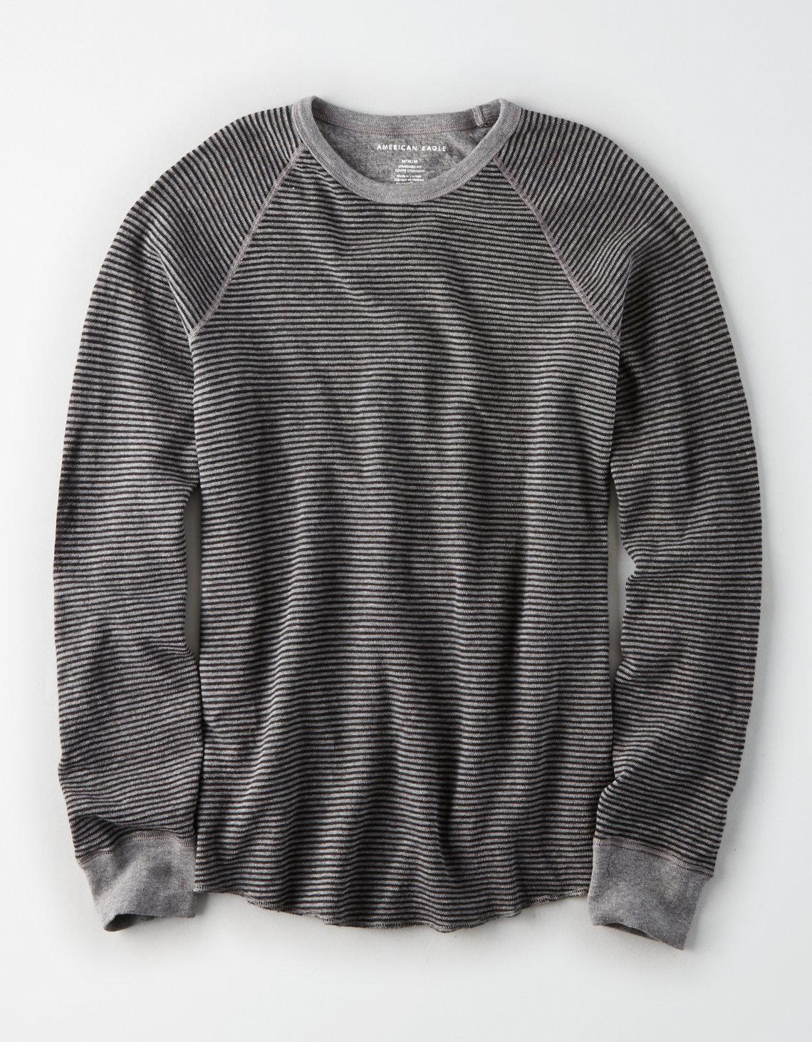 8f13c9f5724 American Eagle Ae Long Sleeve Striped Thermal T-shirt in Gray for ...