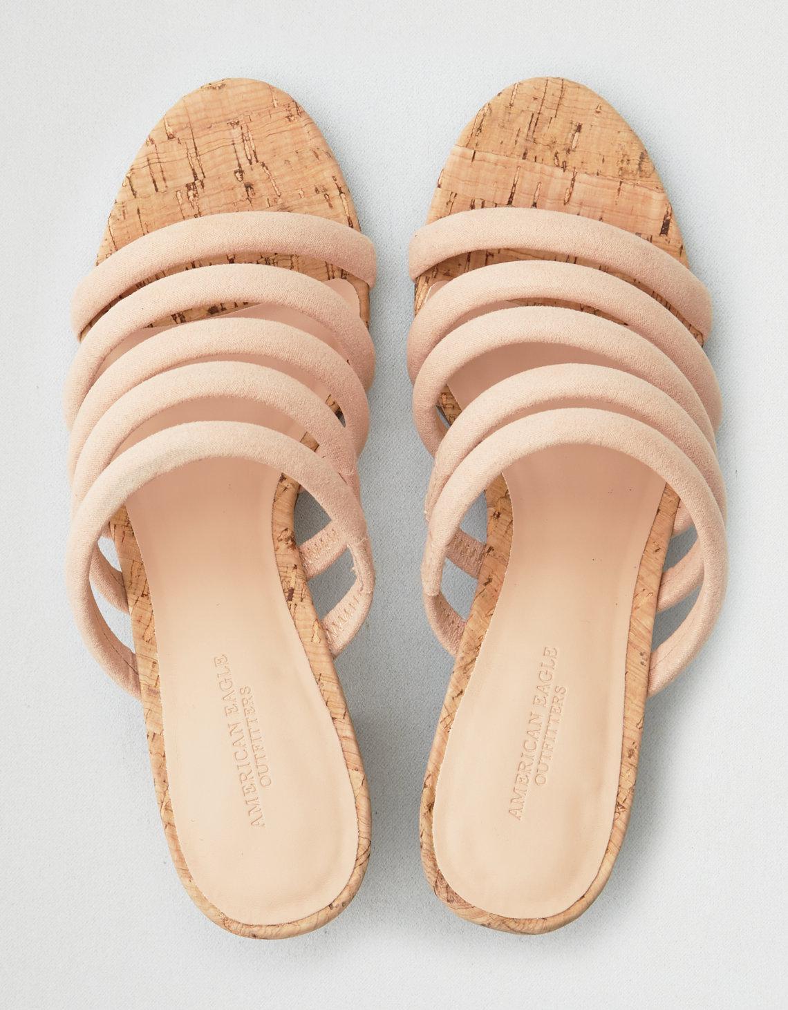 12331efc2a7c Lyst - American Eagle Strappy Mule Block Heel Sandal in Natural