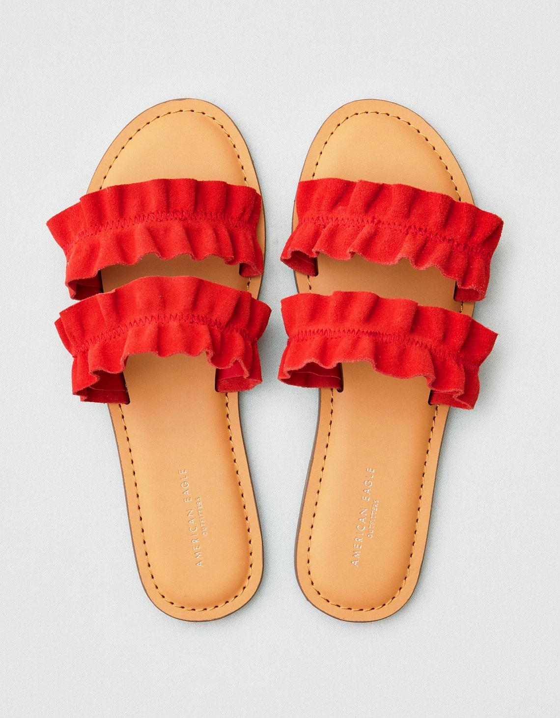f030a7e2a0c Lyst - American Eagle Ae Double Ruffle Strap Sandal in Red