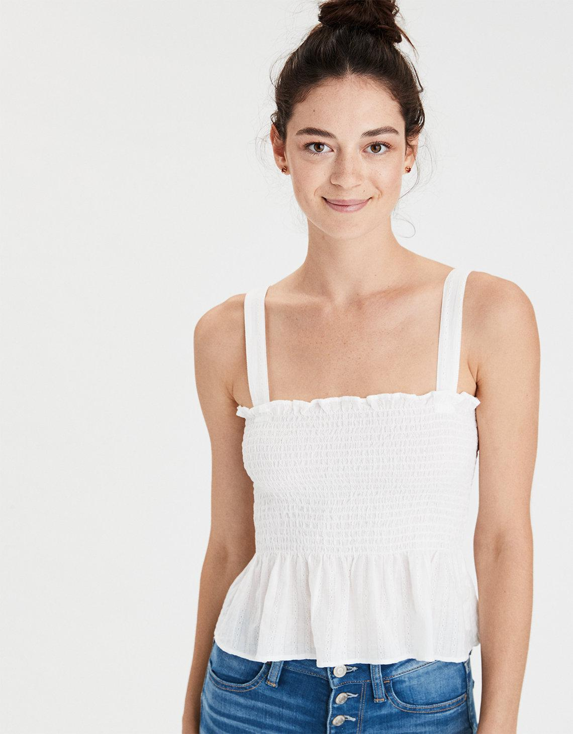 37fcff8f15 Lyst - American Eagle Ae Smocked Camisole in White