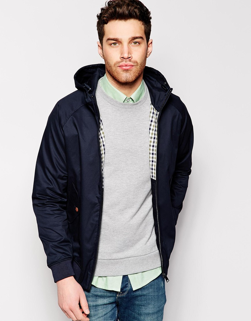 lyst ben sherman harrington jacket with hood in blue for men. Black Bedroom Furniture Sets. Home Design Ideas