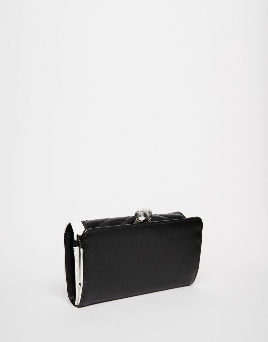 d123408686 Lyst - ASOS Quilted Chevron Frame Purse With Metal Bar in Black
