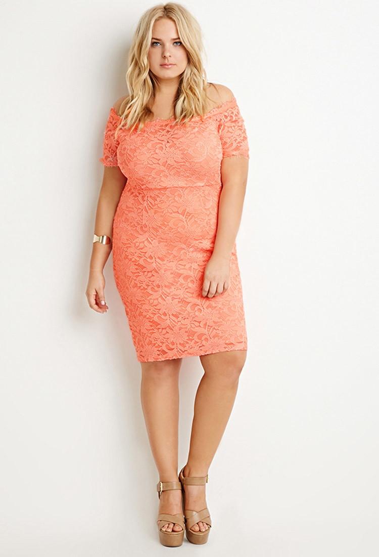 Lyst - Forever 21 Plus Size Eyelash Lace Dress in Orange