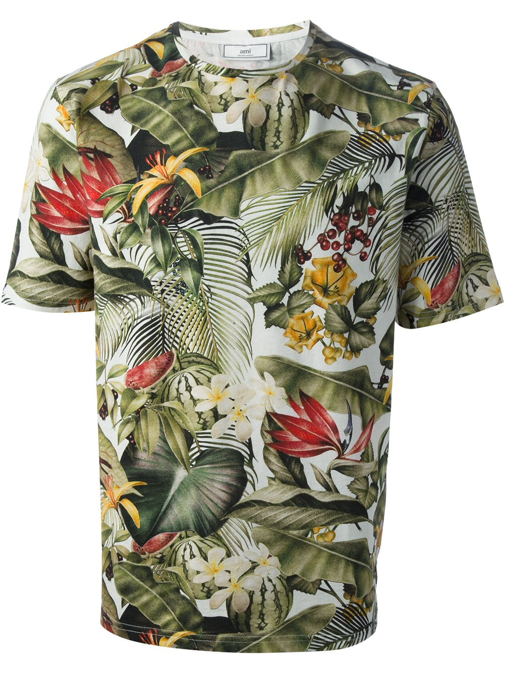 Lyst ami tropical print tshirt in white for men for Lsu hawaiian print shirts