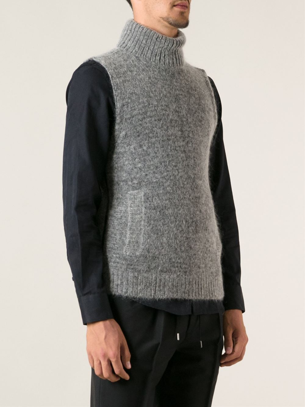 lyst emporio armani sleeveless sweater in gray for men. Black Bedroom Furniture Sets. Home Design Ideas