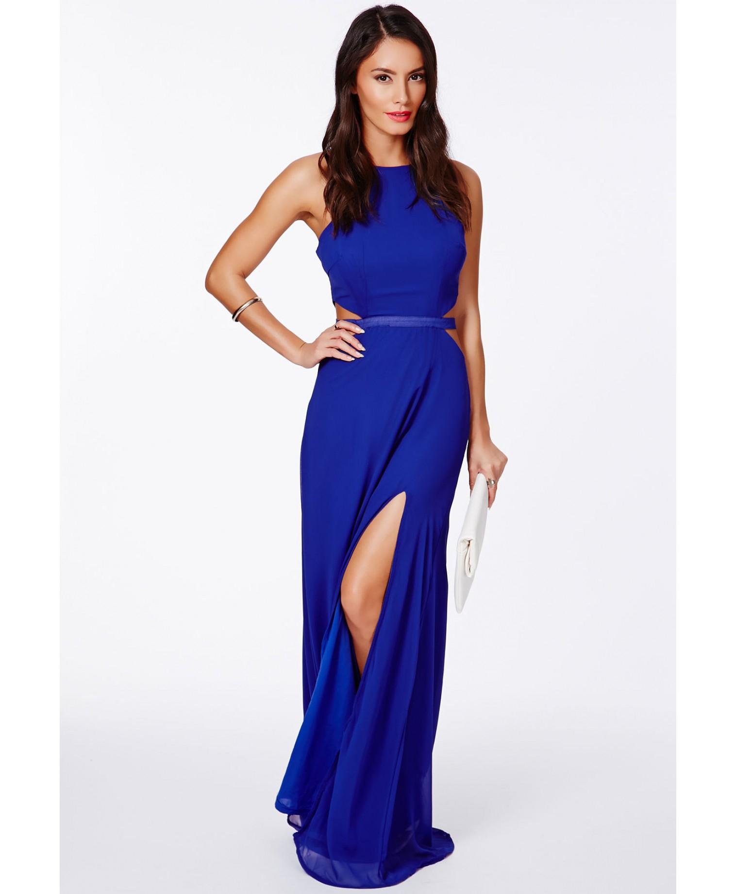 Blue cobalt maxi dresses