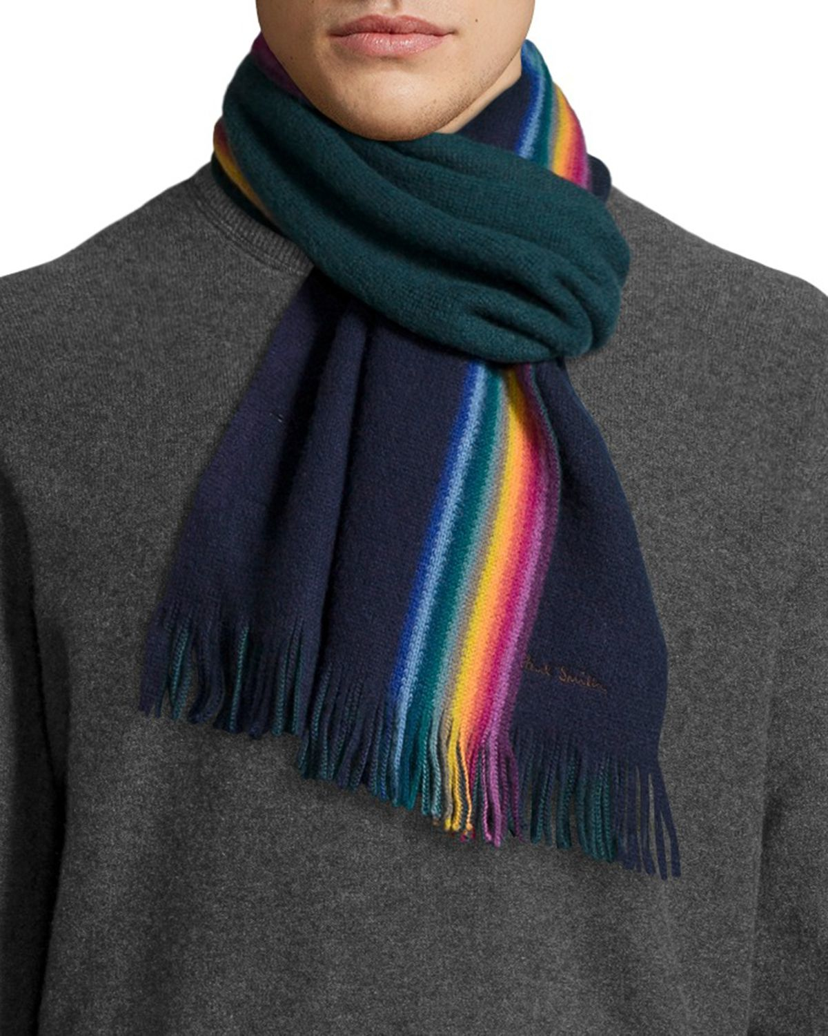 paul smith rainbow stripe wool scarf in blue for navy