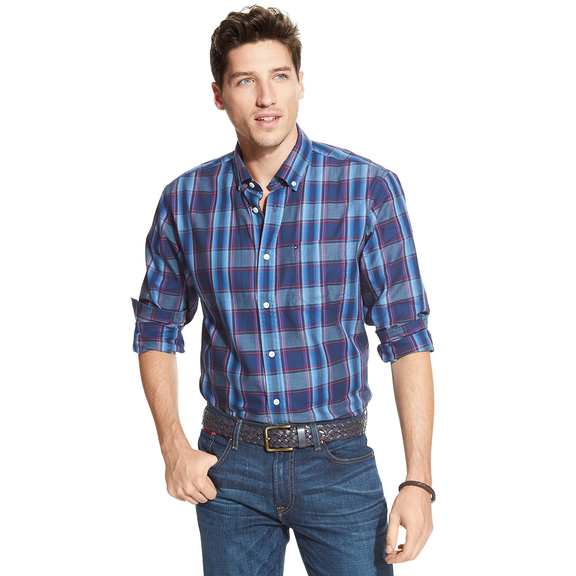 Tommy Hilfiger Classic Fit Blue Plaid Shirt In Blue For