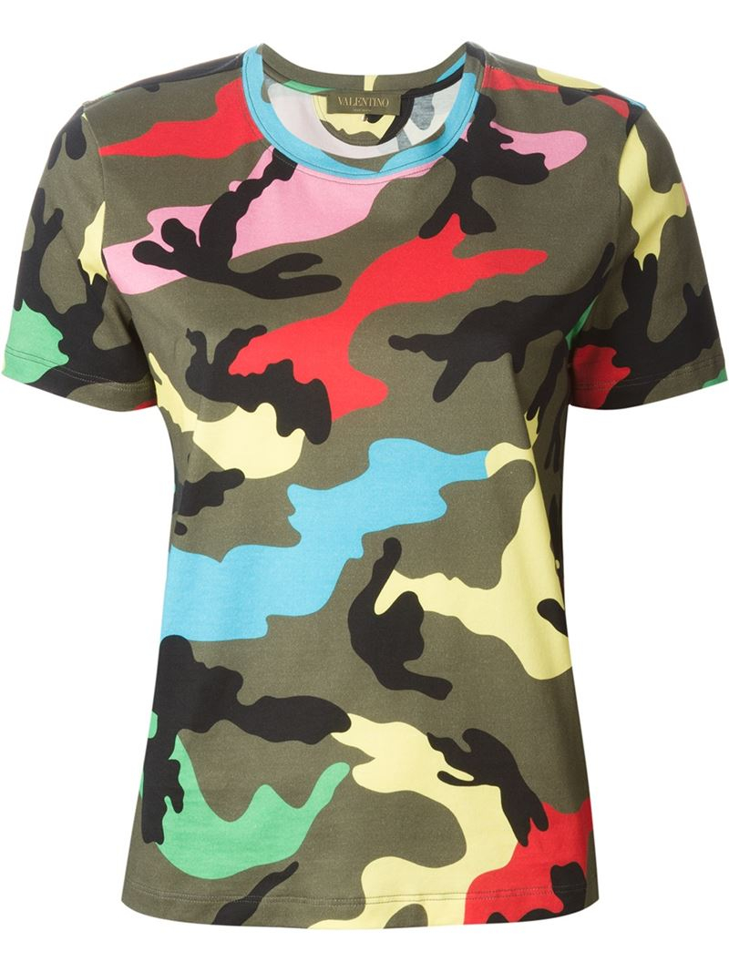 Valentino 39 Rockstud 39 Camouflage T Shirt In Green Lyst