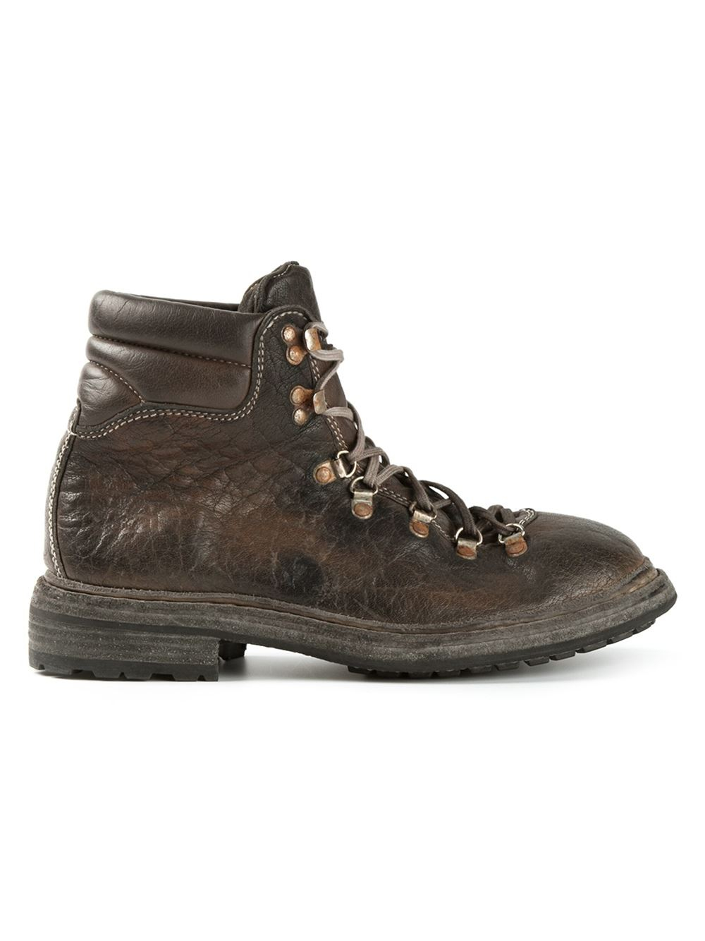 Guidi Distressed Cordovan Trekking Boots In Brown For Men