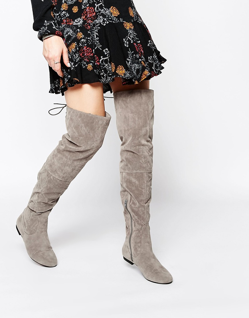 Daisy street Grey Over The Knee Tie Back Flat Boots in Gray | Lyst