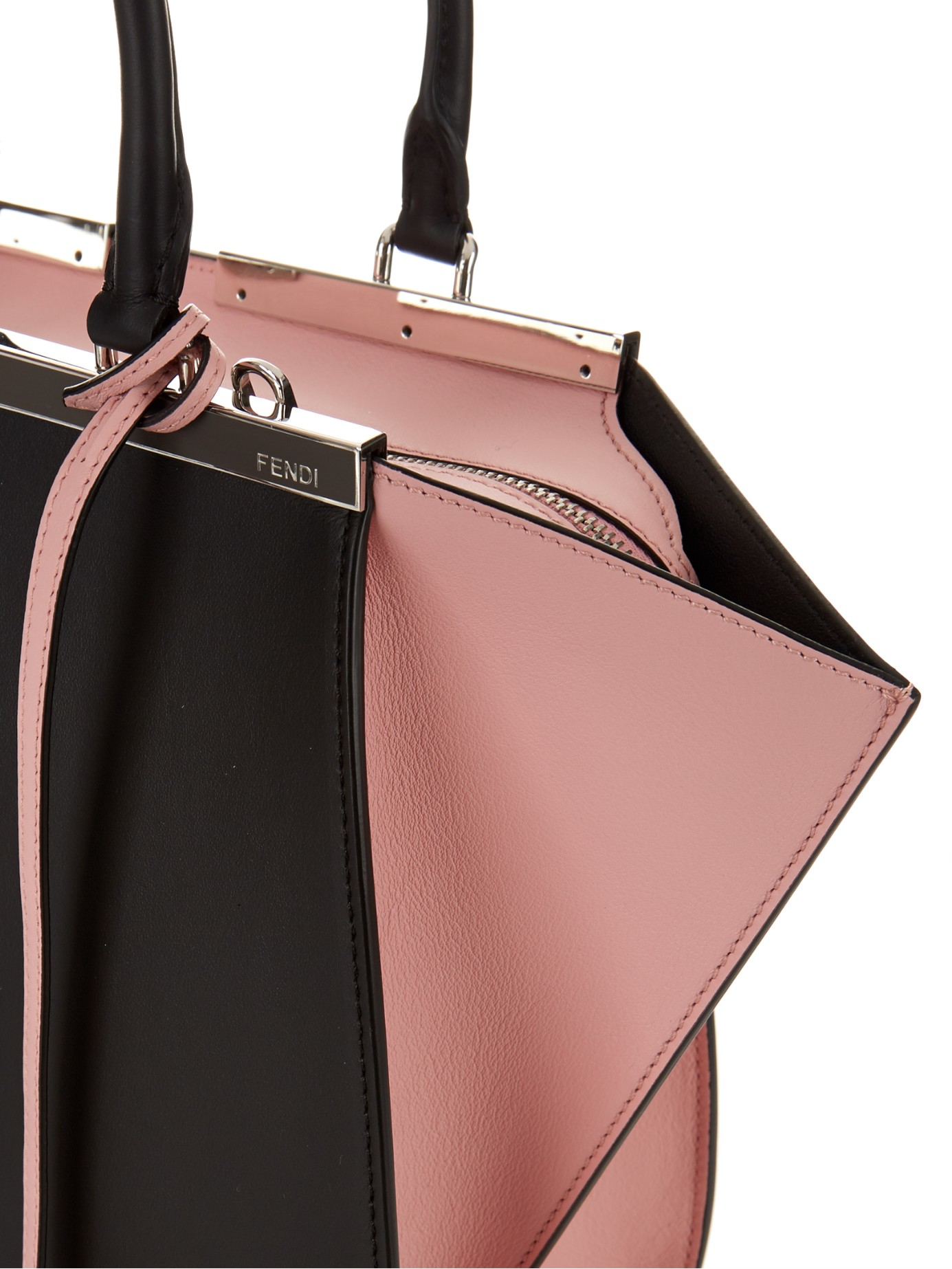 Fendi 3Jours Small Trapeze Leather Tote in Pink - Lyst 02cac55638724