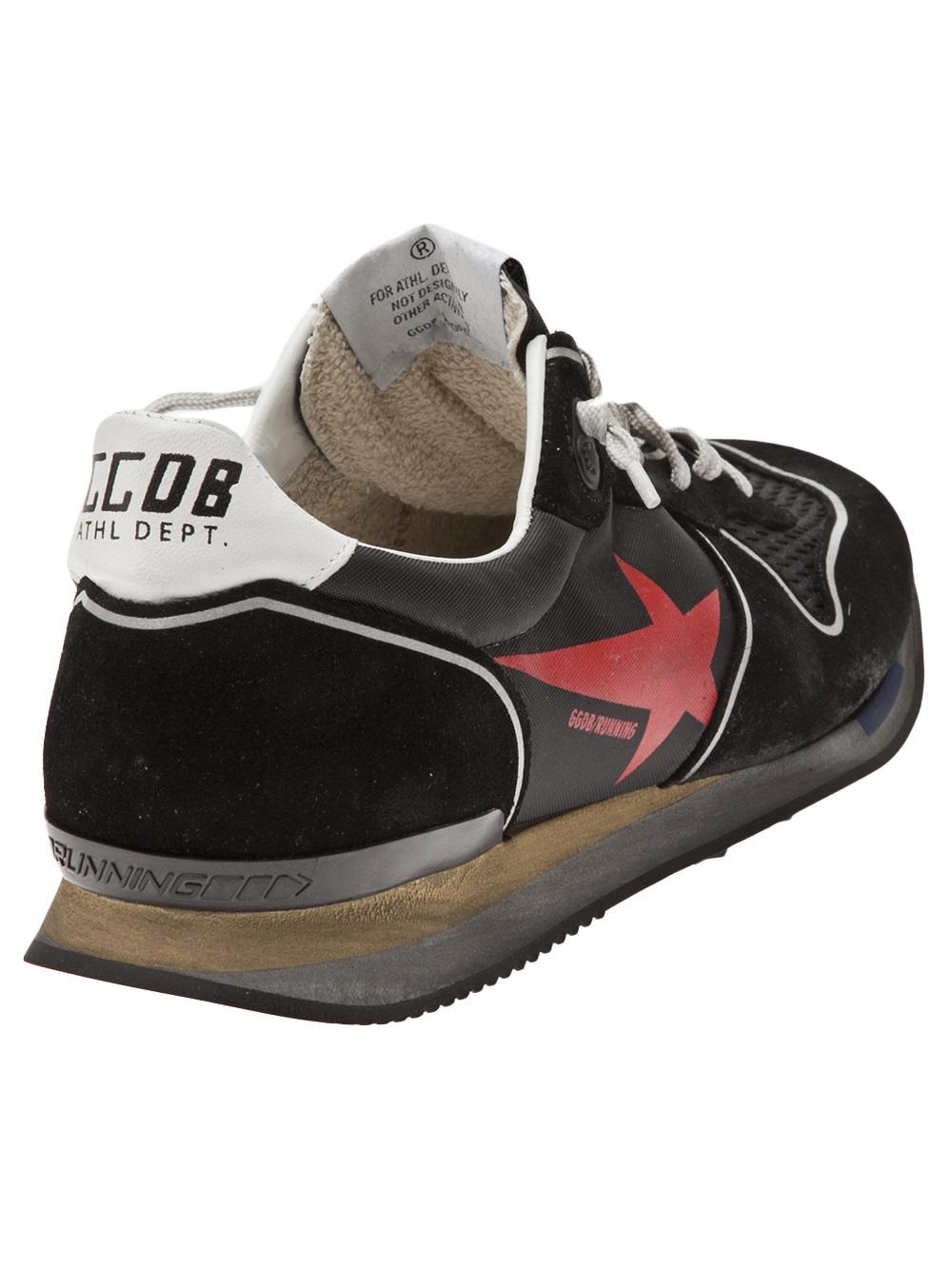 golden goose deluxe brand worn look running shoes in black