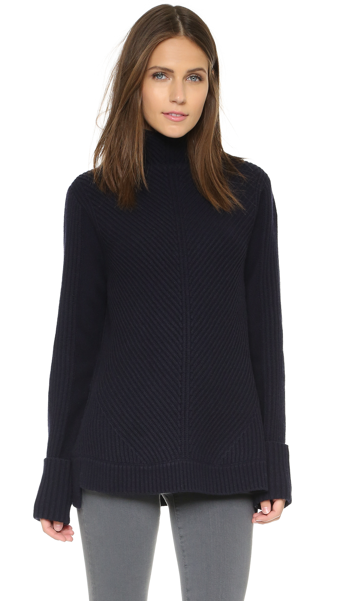 Vince Directional Rib Turtleneck Sweater - Coastal in Black | Lyst