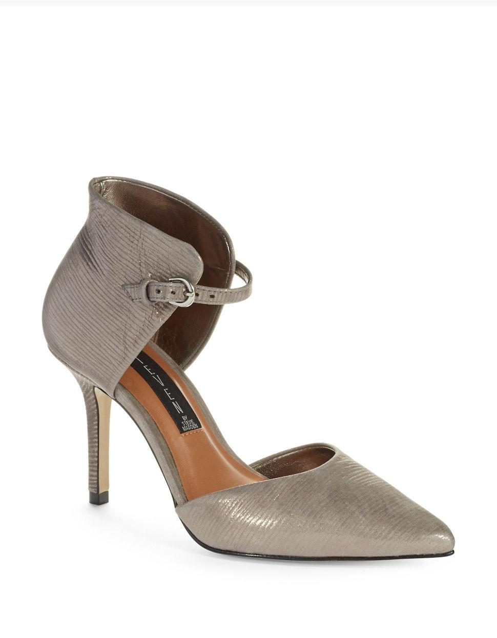 steven by steve madden nadene heels in gray pewter lyst. Black Bedroom Furniture Sets. Home Design Ideas