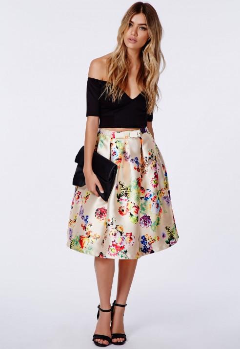 missguided heidi floral satin midi skirt in