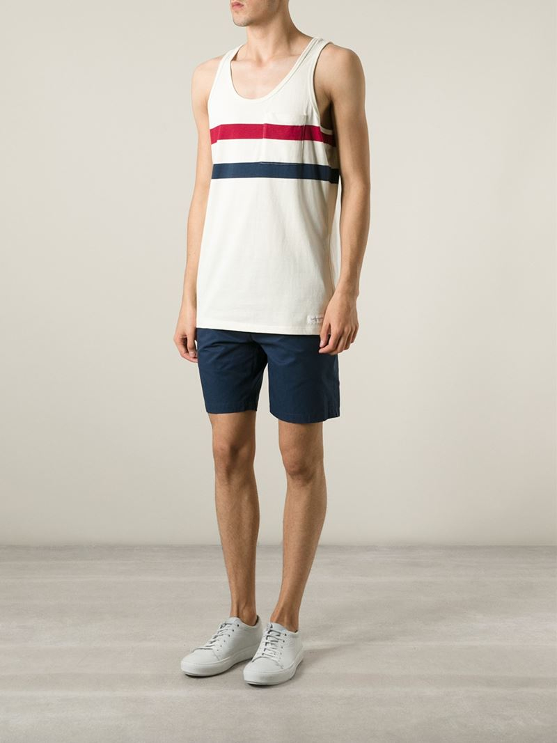 Lyst saturdays nyc striped cotton tank top in natural for Best dress shirts nyc
