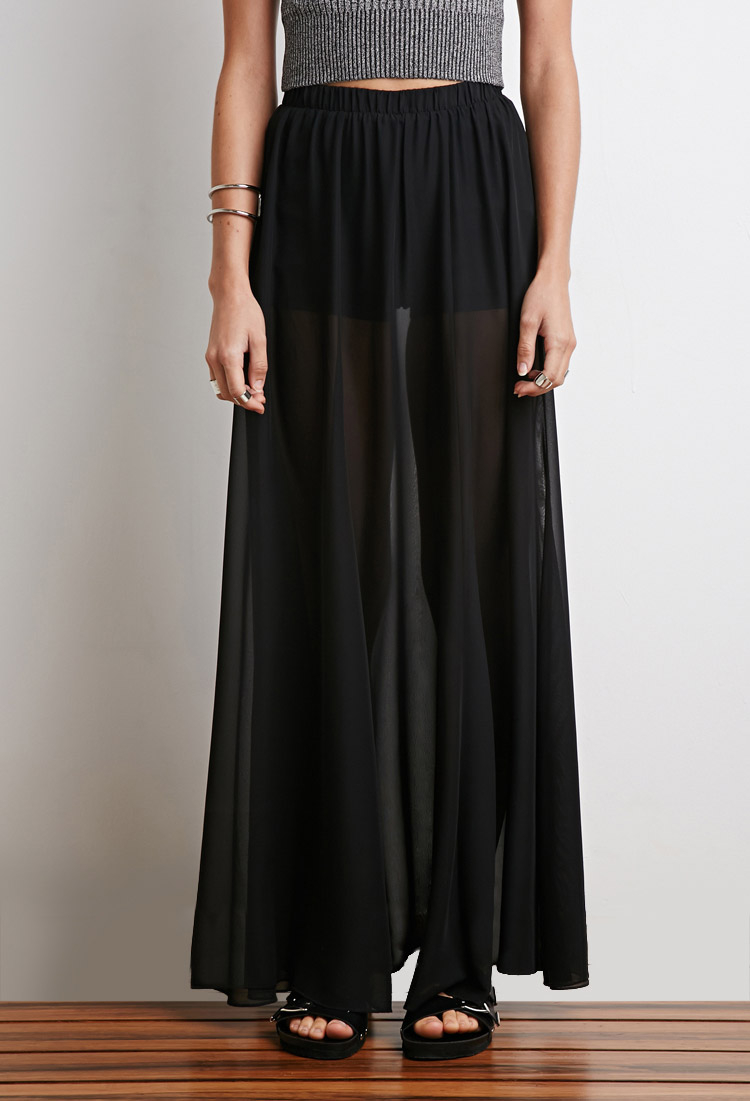 Forever 21 Sheer Overlay Maxi Skirt in Black | Lyst