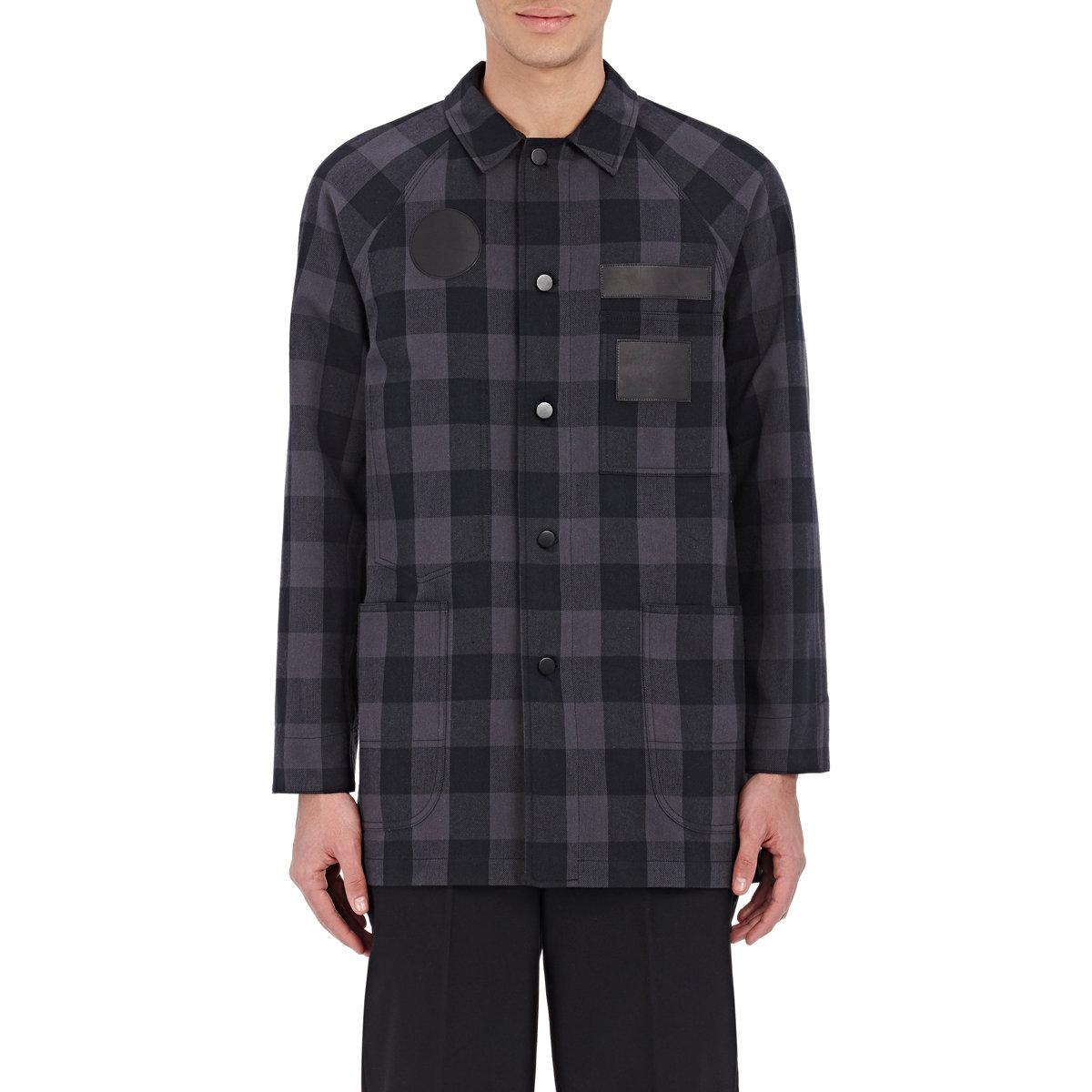 Alexander wang men 39 s plaid shirt jacket in blue for men lyst for Plaid shirt jacket mens
