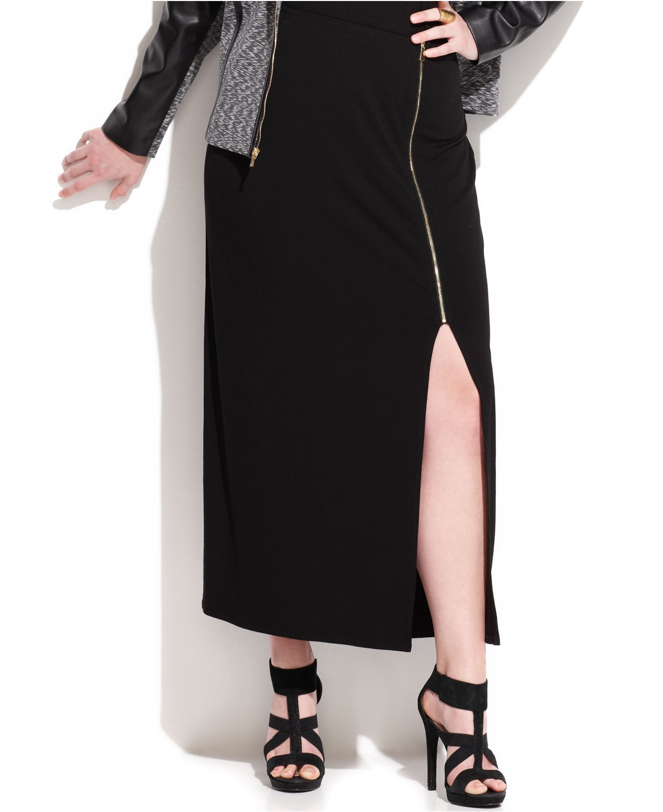 vince camuto plus size sideslit zip maxi skirt in black lyst