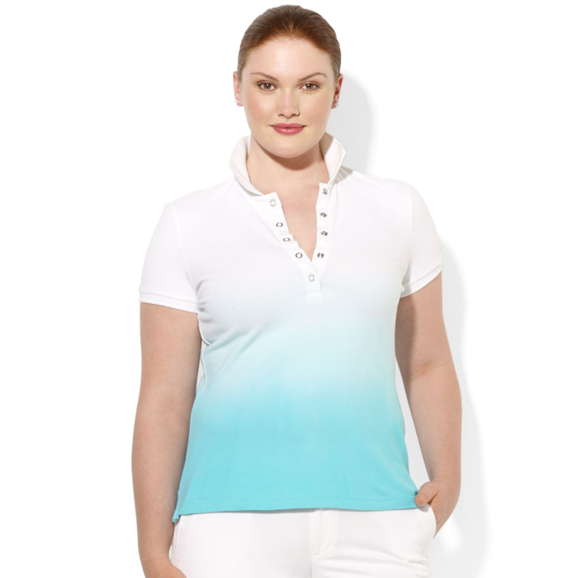 Lauren By Ralph Lauren Plus Size Shortsleeve Ombre Polo