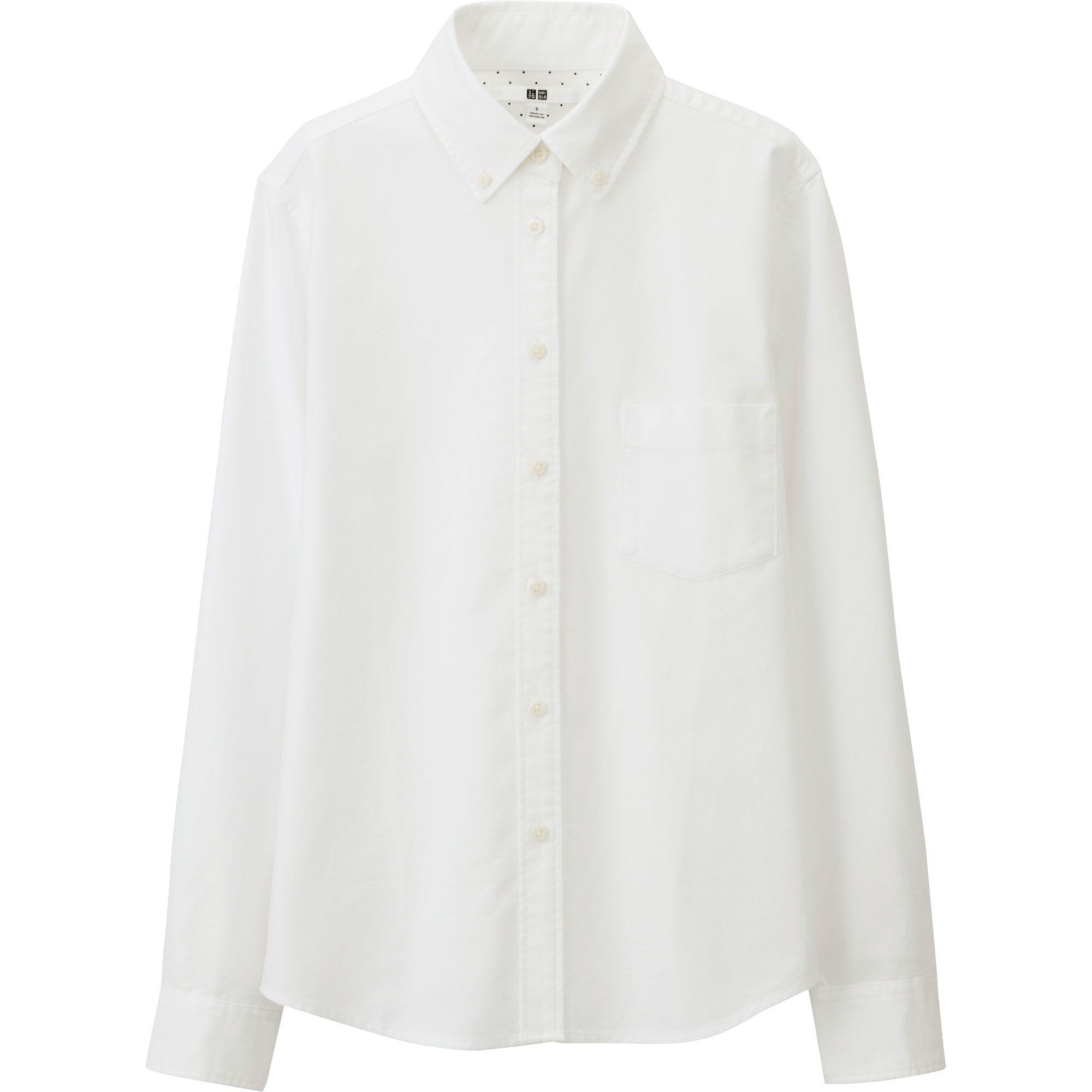 Uniqlo White Women Oxford Long Sleeve Shirt Lyst