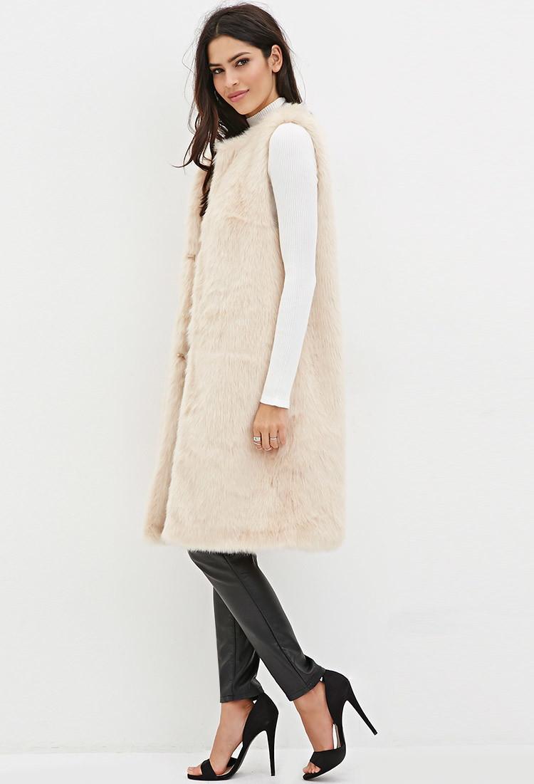 Forever 21 Longline Faux Fur Vest in Natural | Lyst