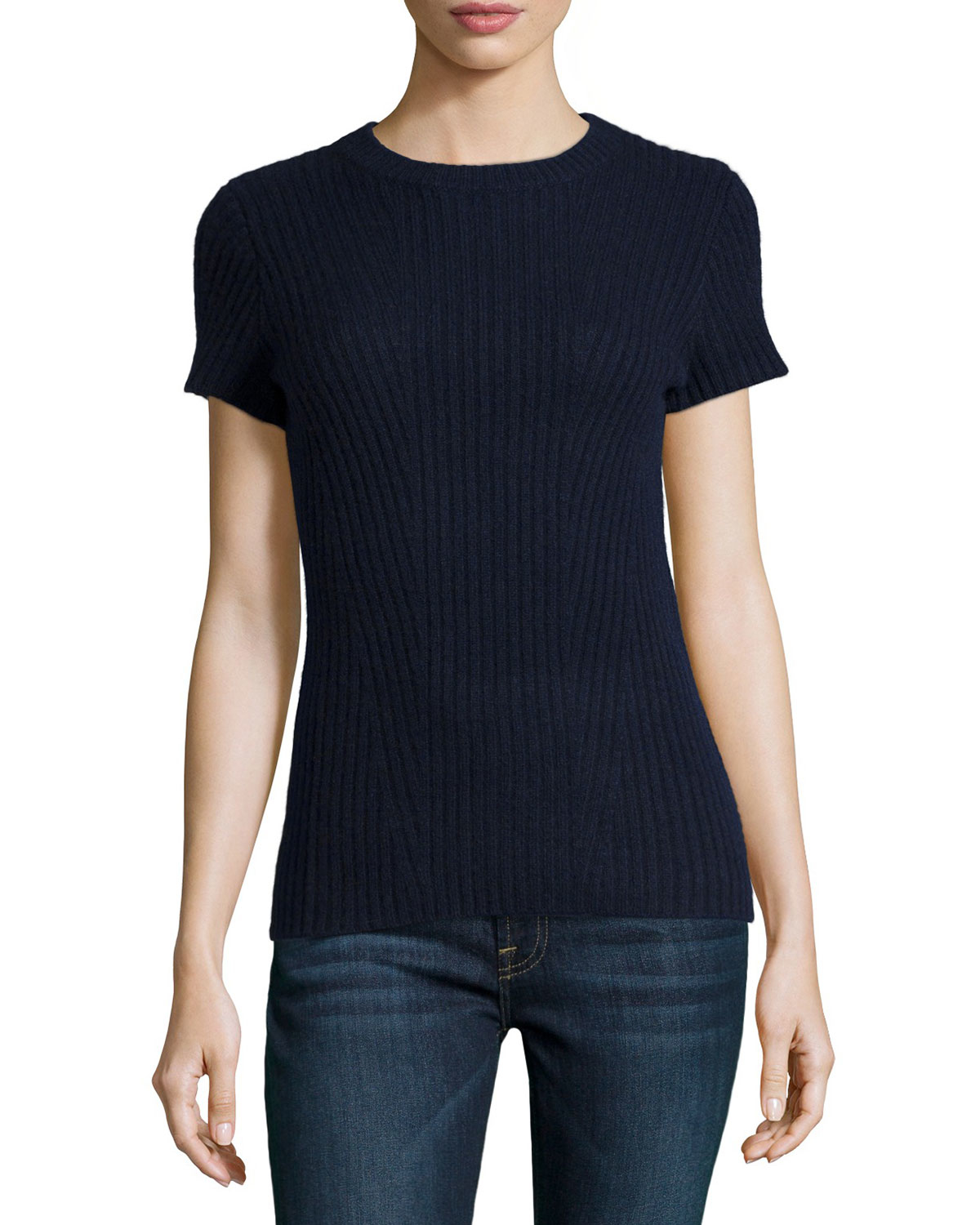 Philosophy cashmere Cashmere Ribbed Short-sleeve Sweater in Blue ...