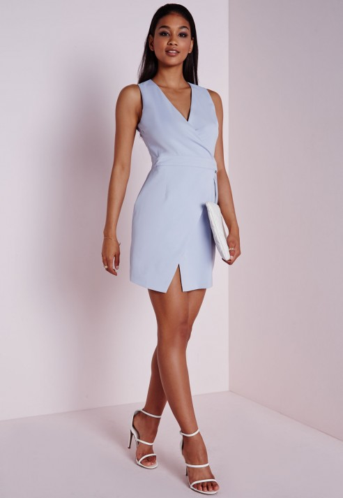 Missguided Asymmetric Wrap Hem Dress Powder Blue in Blue | Lyst