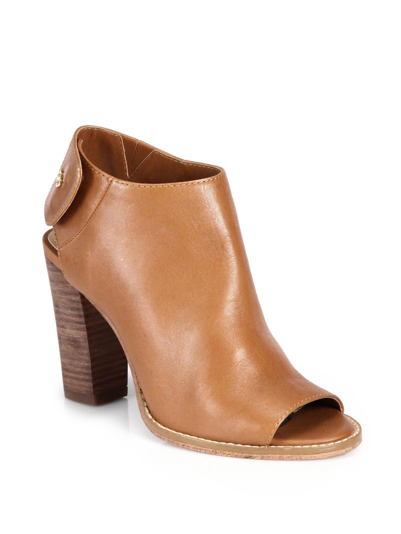 cole haan wrey leather opentoe ankle boots in brown lyst