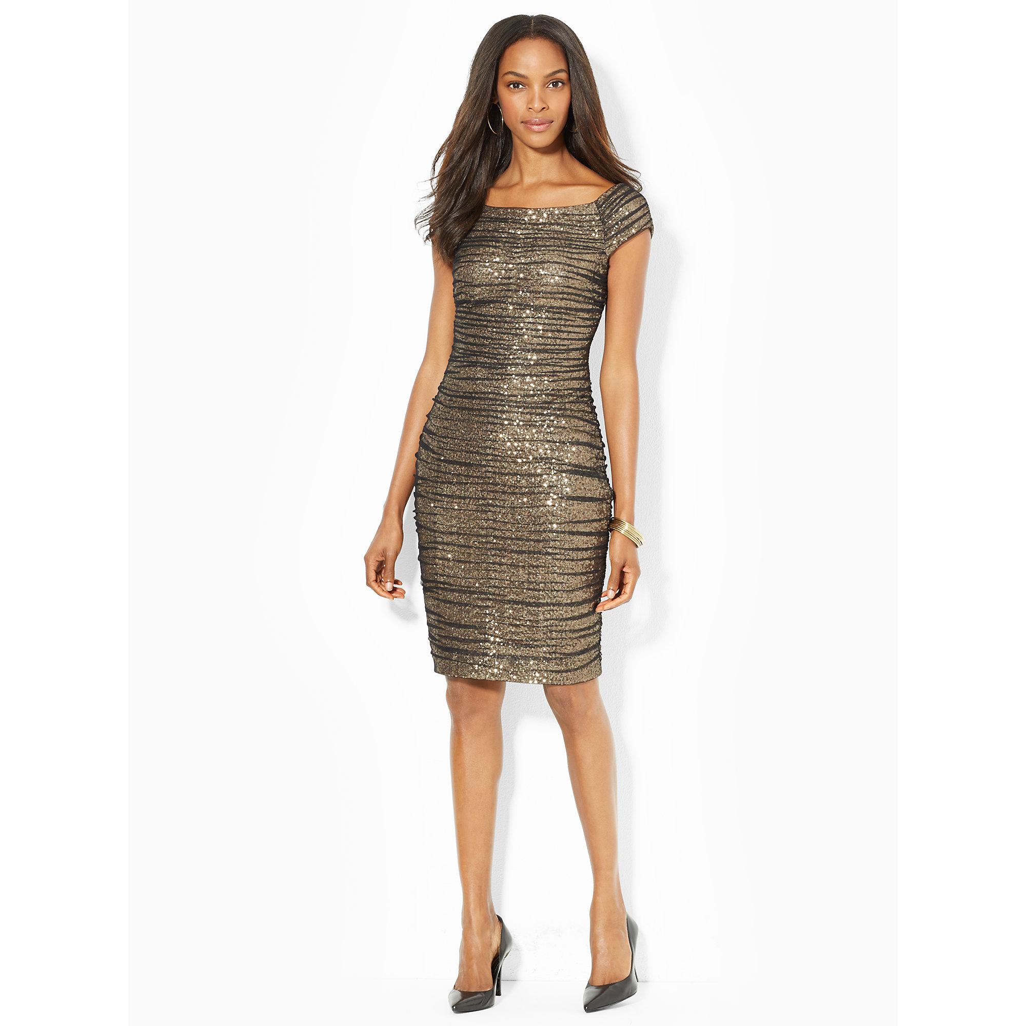 Lyst - Ralph Lauren Sequined Mesh Overlay Dress in Metallic