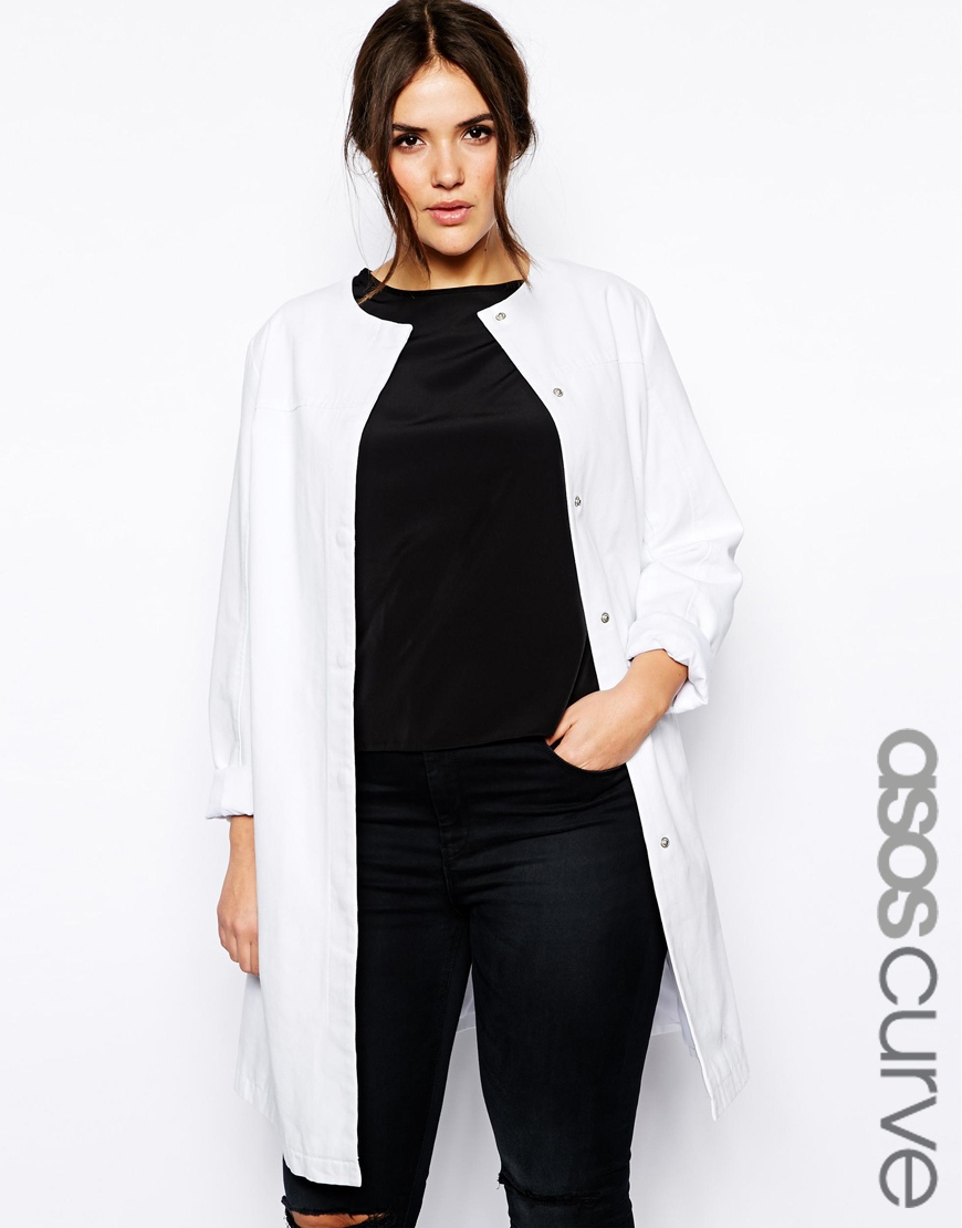 302334bbc0f Lyst - ASOS Exclusive Collarless Coat in White