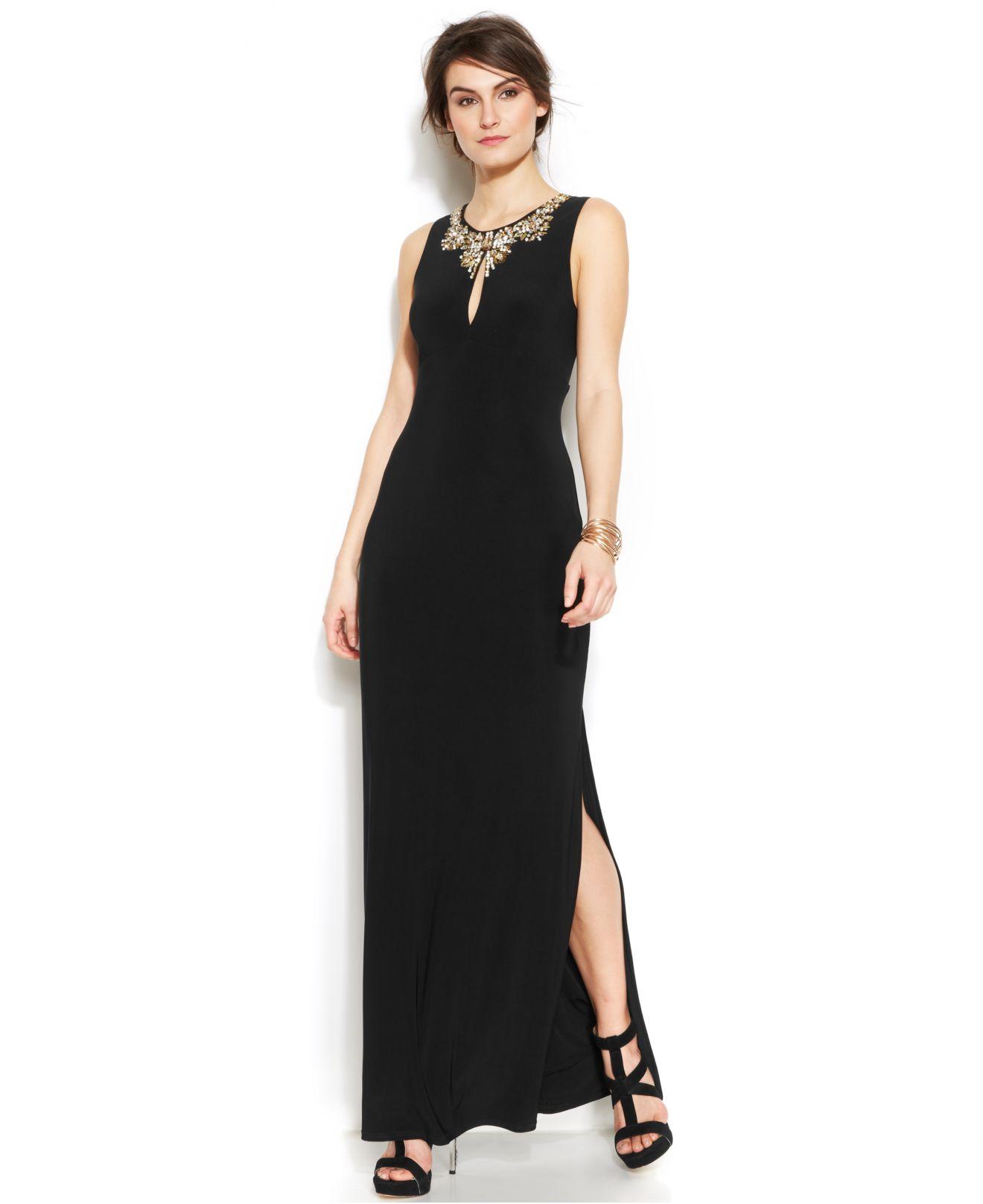 Lyst - Vince Camuto Embellished Keyhole Side-Slit Gown in Black