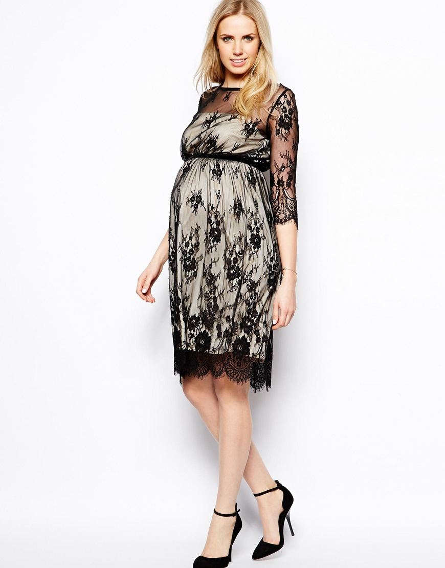 Asos maternity exclusive lace midi dress with scalloped detail lyst gallery ombrellifo Image collections