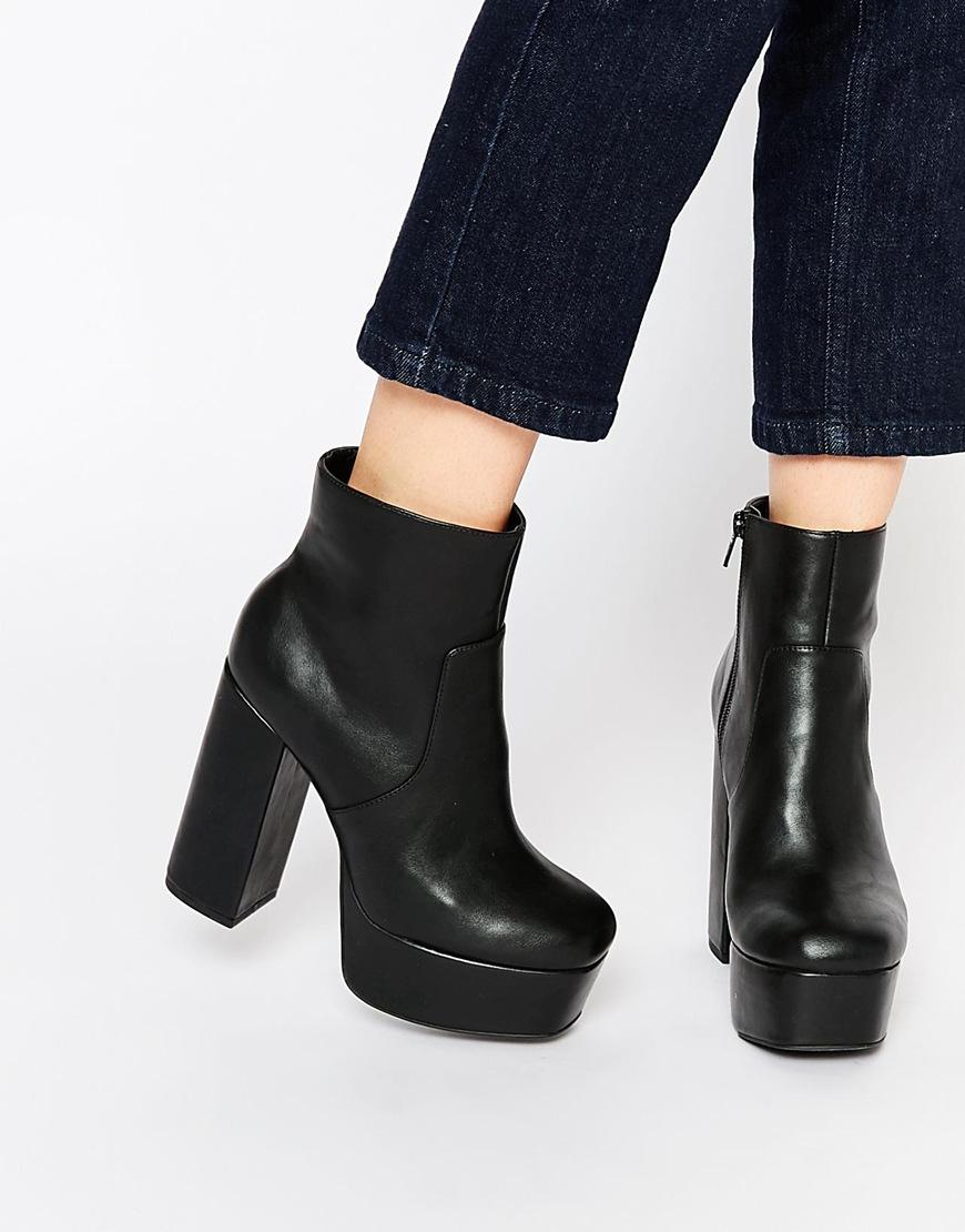 d01b2446472 Lyst - Faith Sapphire Black Platform Heeled Boots in Black