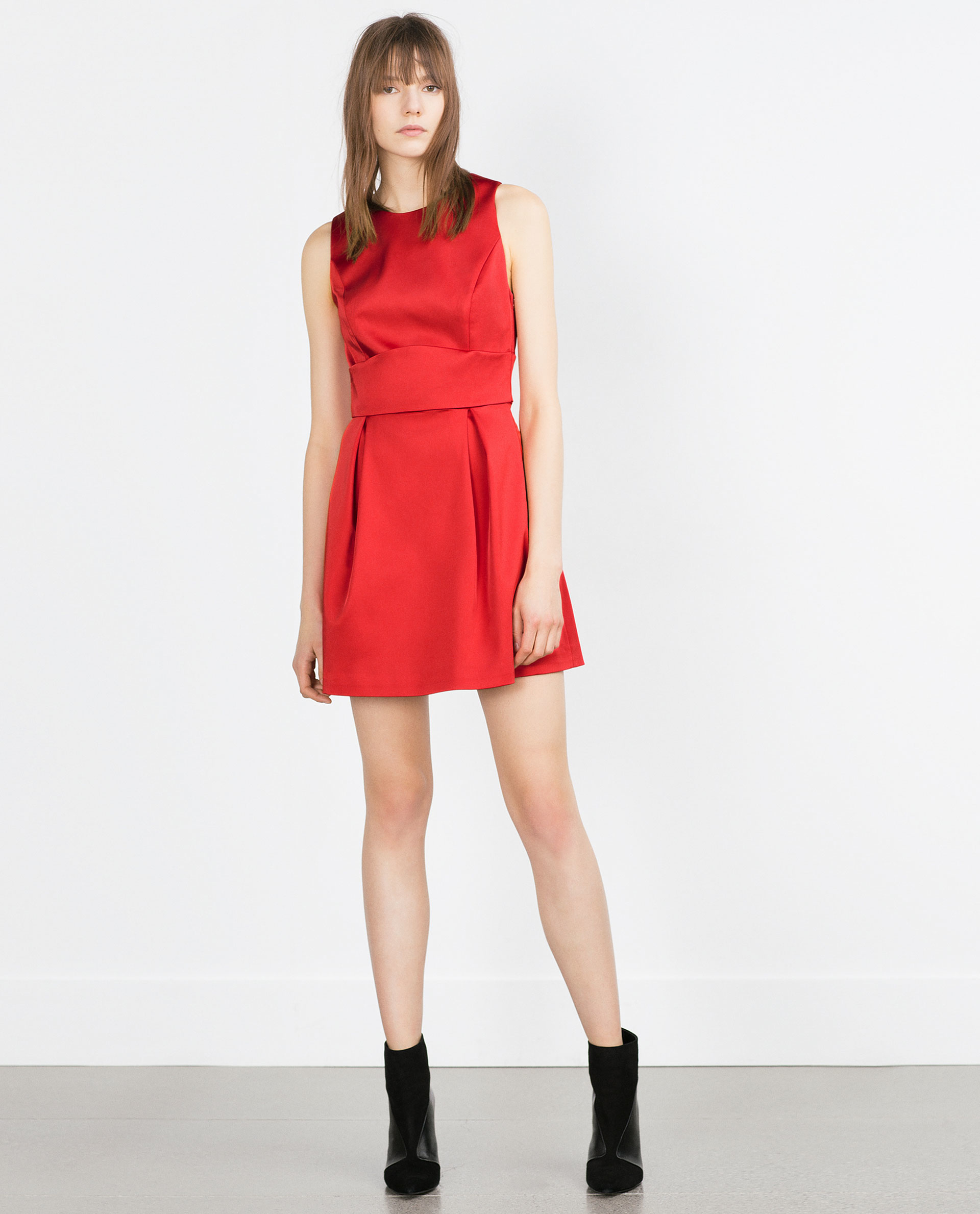 Zara Dress With Central Gathering in Red - Lyst
