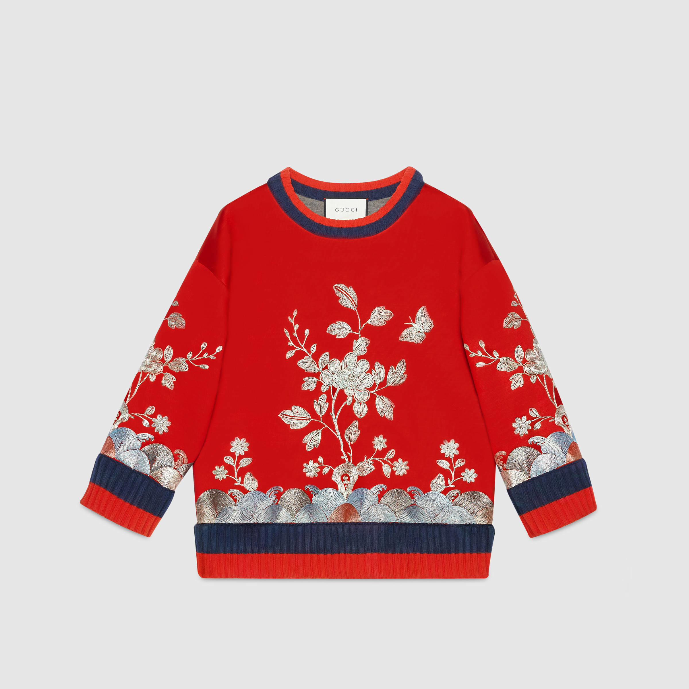Gucci floral embroidered sweatshirt in black lyst