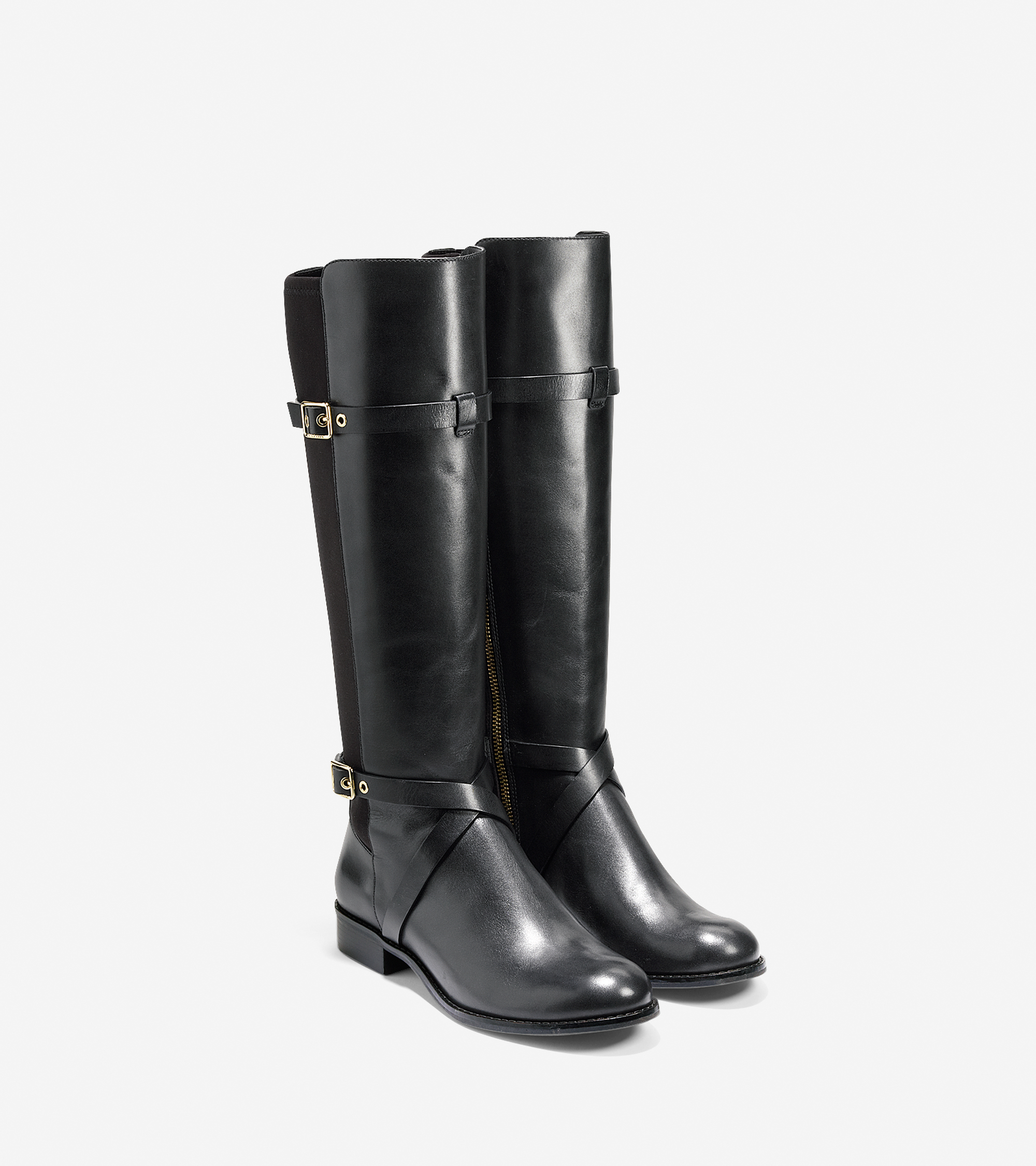 cole haan dorian leather knee high boots in black lyst