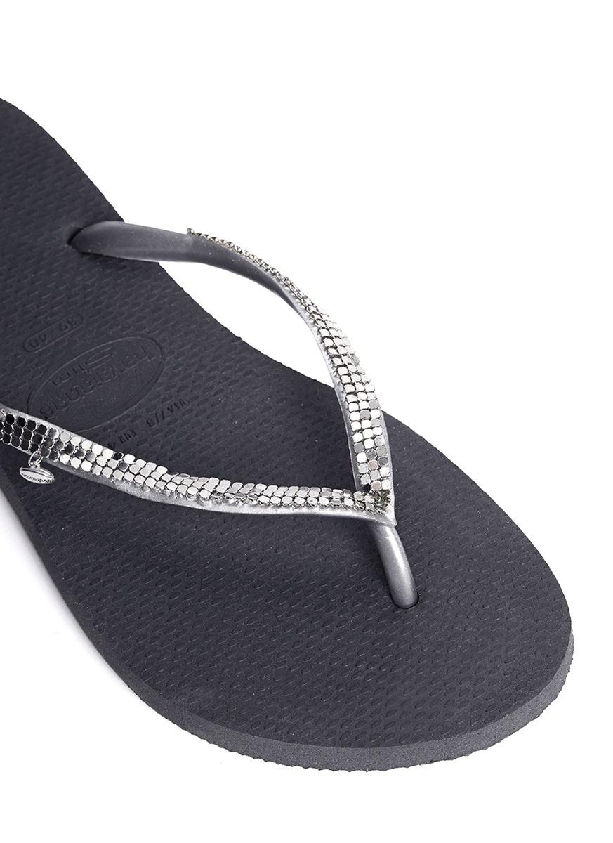 87cb9d387d9 Lyst - Havaianas Slim Metal Mesh Flip-flops in Gray