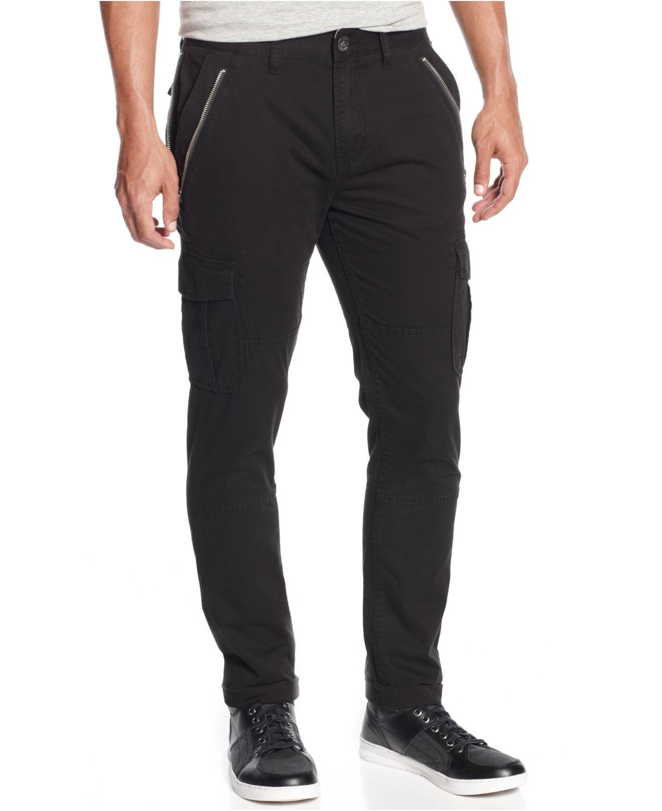 Guess Slim Taper Cargo Pants In Black For Men Lyst