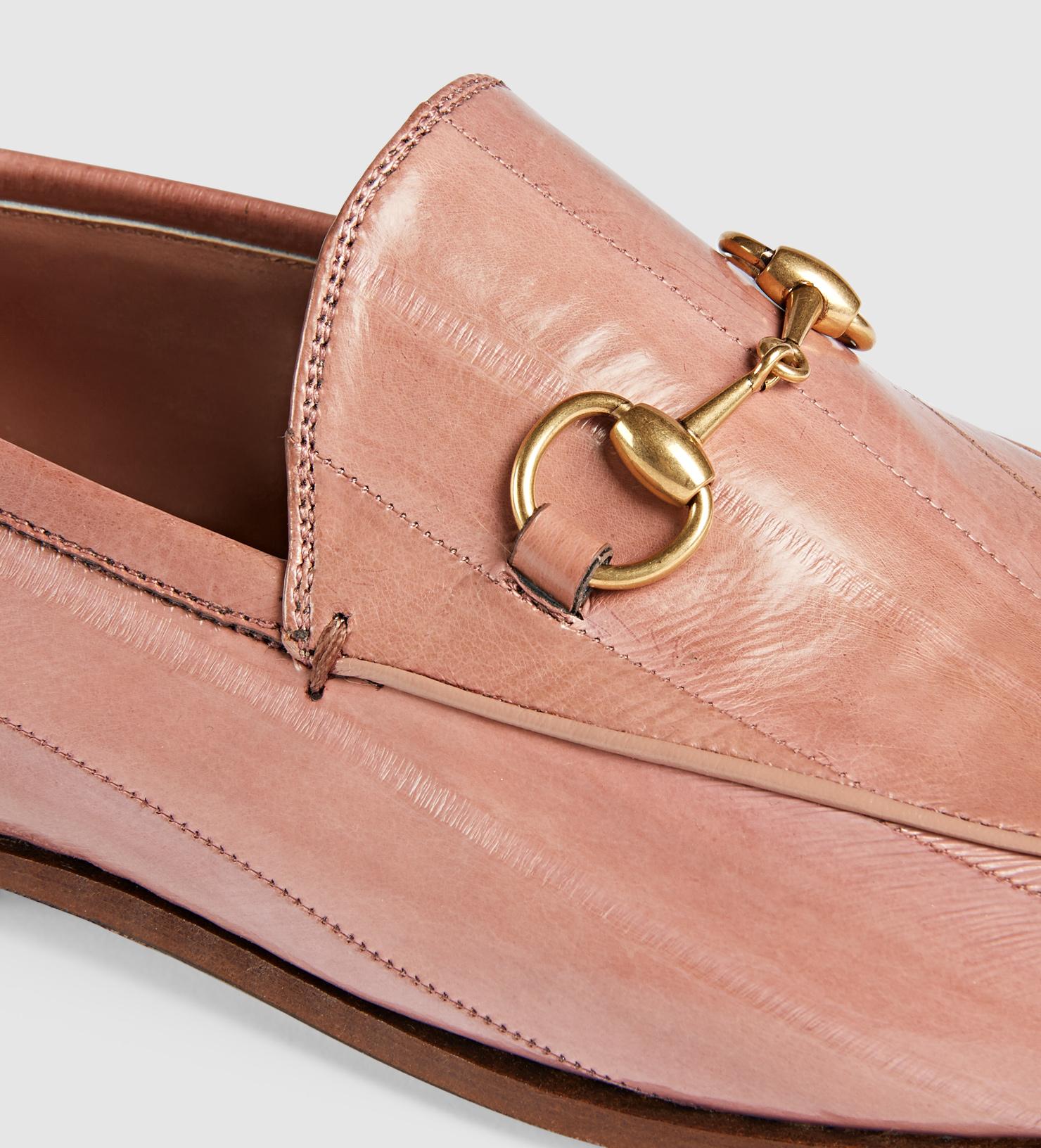 da5d28926eb Lyst - Gucci Jordaan Eel Loafer in Pink