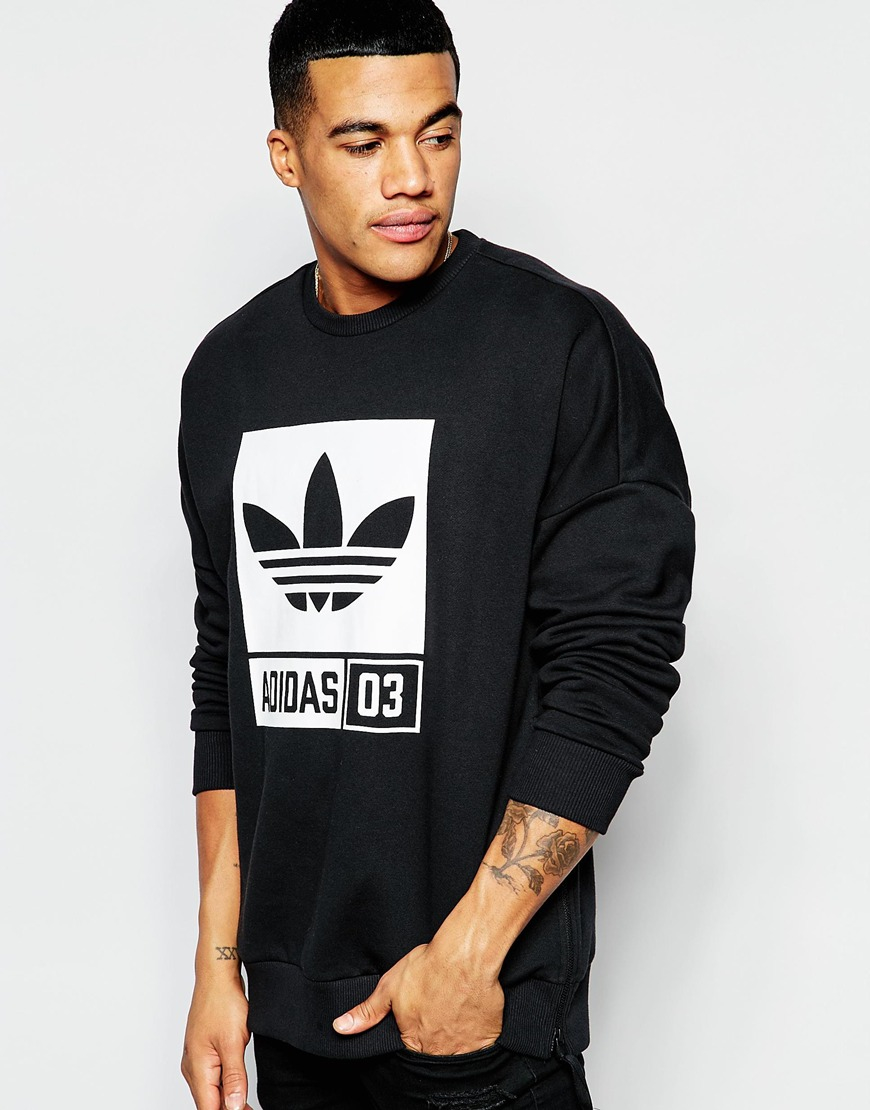 adidas originals sweatshirt with street graphic aj7709 in black for men lyst. Black Bedroom Furniture Sets. Home Design Ideas