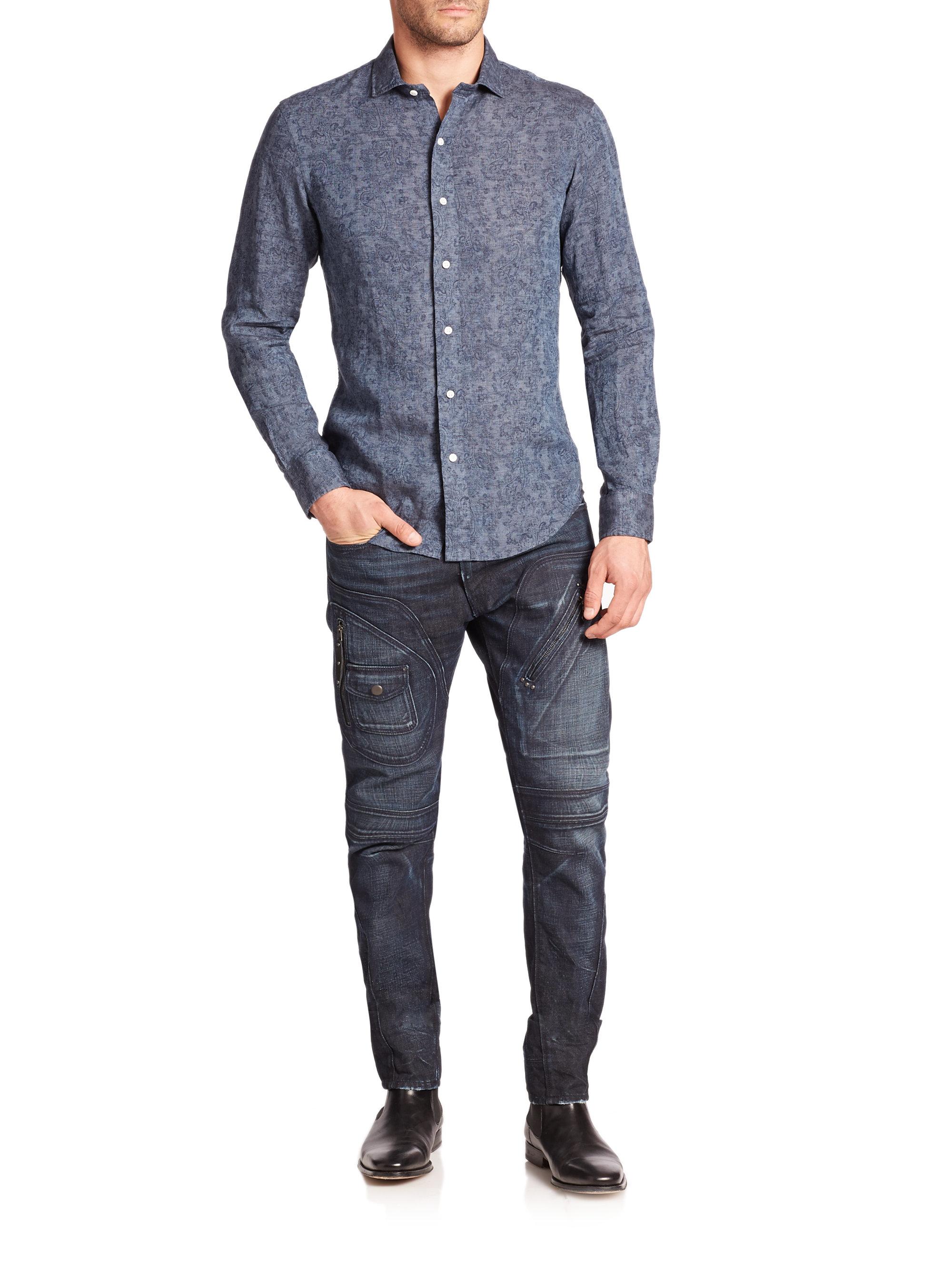 063420c63 ... australia lyst polo ralph lauren slim fit paisley linen estate  sportshirt in a9d14 10d58