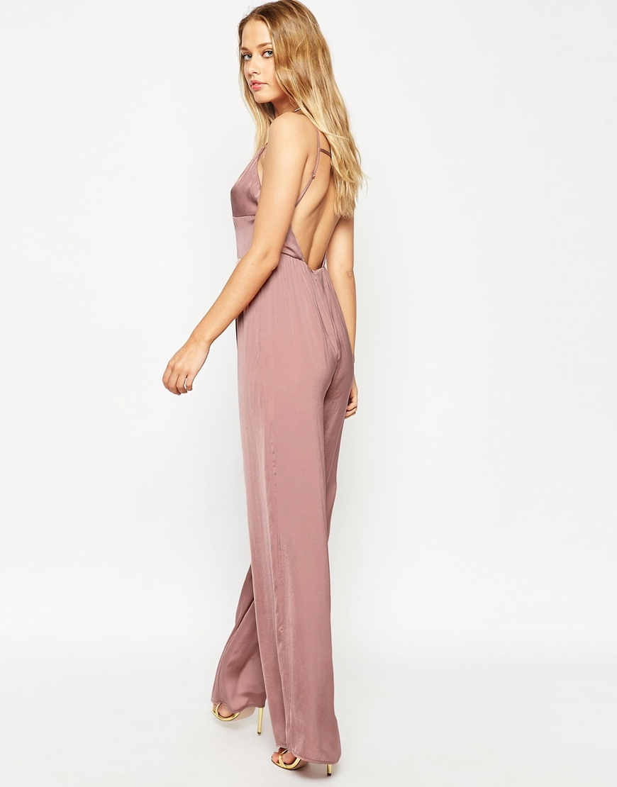 dcad8744a76a Lyst - ASOS Jumpsuit In Satin With Multi Strap Front in Pink