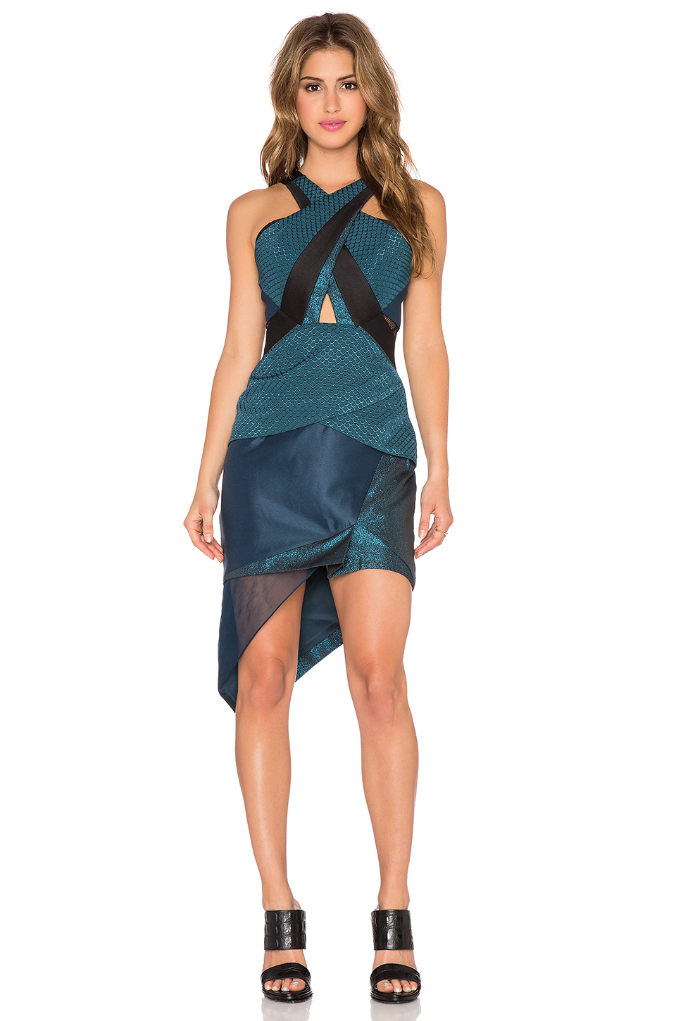 Three floor analemma geometric halter dress in blue lyst for Three floor yellow dress