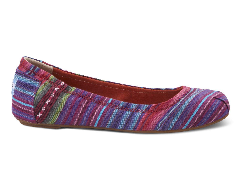 Toms Woven Stripes Womens Ballet Flats